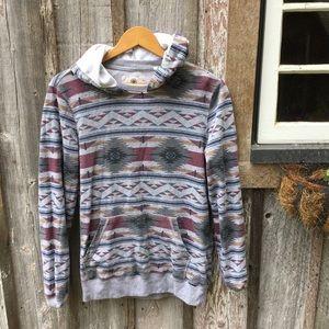 On the Byas | Aztec Print Hoodie Small Sweatshirt